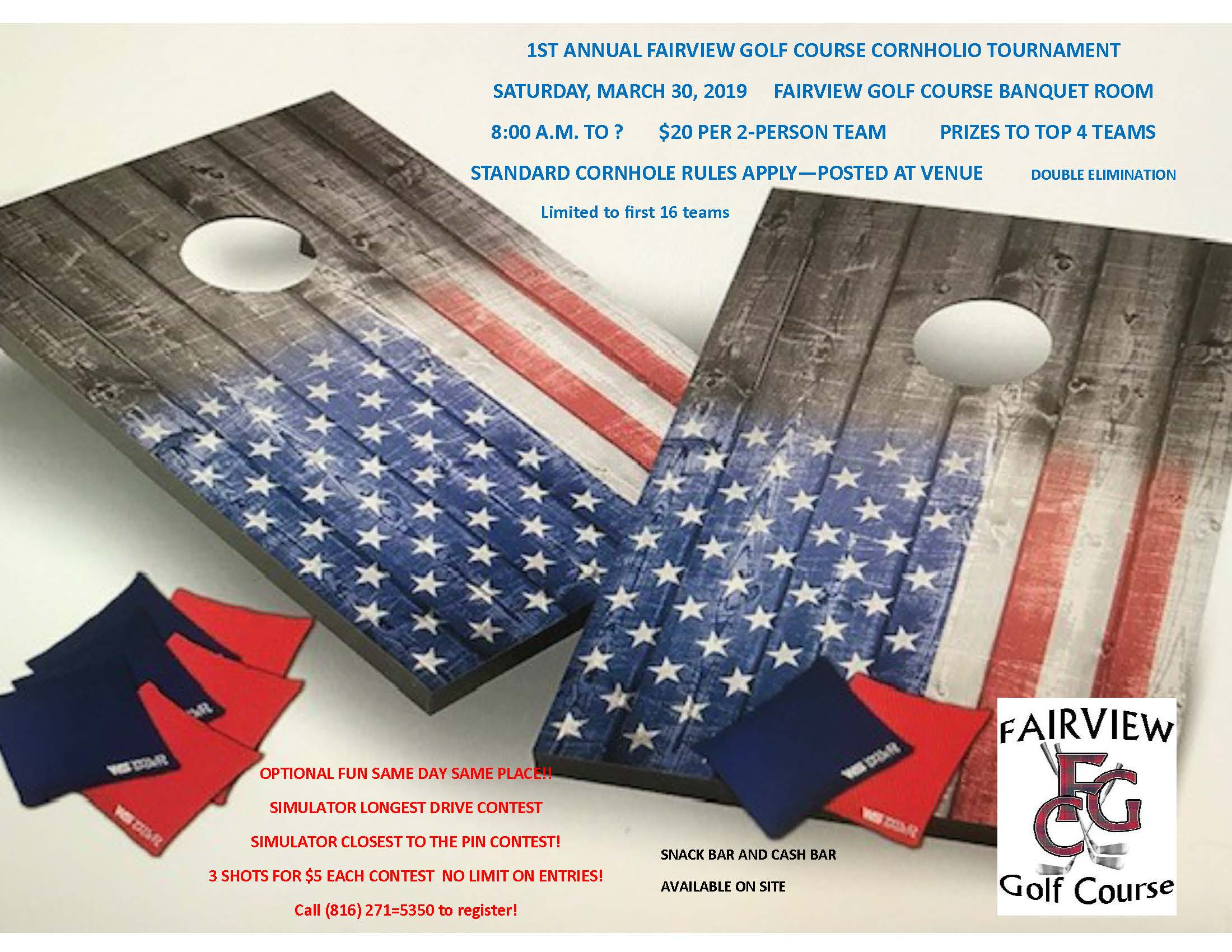 Poster for Fairview Cornhole Tournament